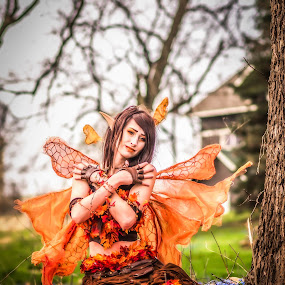 Fairy In The Woods by Lynn Kirchhoff - People Portraits of Women ( orange, blue, woman, fairy, forest, spring, portrait,  )