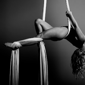 Hang Back by Monte Arnold - Black & White Portraits & People ( blackandwhite, black and white, fitness, strength, beautiful, silks, legs, aerial, beauty, flexible, dance, dancer, black&white,  )