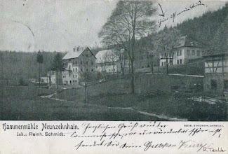 """Photo: Hammermühle Neunzehnhain bei Wünschendorf im Erzgebirge Sachsen -  alte Postkarte um 1905 Die Gaststätte """"Zur Hammermühle"""" steht hier noch nicht"""