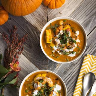 Thai Pumpkin Curry with Salmon and Shrimp.