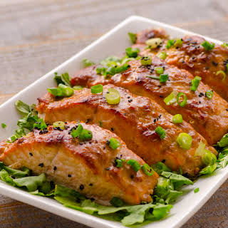 Peanut Butter & Miso Glazed Salmon.