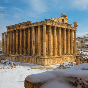 The Temple of Bacchus in Baalbek, Lebanon by Richard Duerksen - Travel Locations Landmarks ( bacchus, snow, ruins, baalbek, lebanon, roman,  )