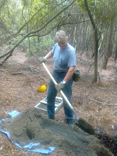 Photo: One of our field assistants.  Shovel testing in the National Forest - we do a lot of this!!!!!