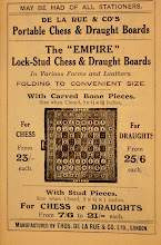 """Photo: Advert from DLR's Pocket Guide to Chess - 5th Edition, 1910 https://picasaweb.google.com/102034963874507604520/Oddities#5830320985028126610  This shows the studded sets, named here as the 'Empire'.   The 'stud' sets are considerably cheaper than the sets with bone pieces, and draughts sets more expensive than chess! I wonder if the former can be solely accounted for by the cost of the actual chess pieces, or whether the boards are of a much cheaper material? The depth quoted is much shallower at 1"""", compared with the bone set's 2 3/8"""".  There is no specific mention of a set combining both chess and draughts, although that could be covered by the phrase '... in various forms and leathers'"""