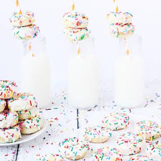 Mini Funfetti Cake Mix Donuts with Vanilla Glaze.