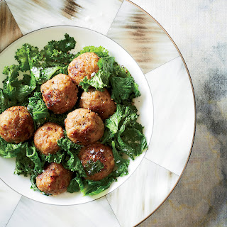Veal Meatballs with Mustard Greens.