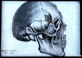 Photo: Skull - Study.  7 x 5 inches or 18 cm x 13 cm. 8.75 x 6.75 x 0.25 inches or 22 cm x 17 cm x 1 cm (approximate) in frame. Graphite on 70 lb. acid-free artist paper. Signature and date on the front. Sealed with a matte finish/fixative.  The back has been sealed with a dust cover and has been gallery wired for easy display.