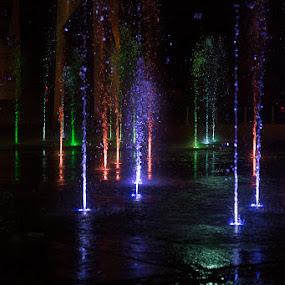 Light show by Karen Shivas - City,  Street & Park  Fountains ( water, lights, orange, red, blue, dark, reflections, black, gree )