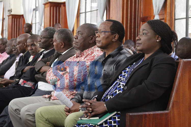 Former PS Lillian Omollo and other NYS II suspects in court.