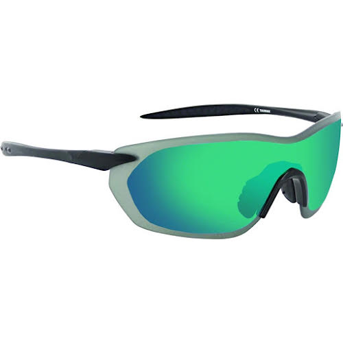 Optic Nerve Fixie Dash Sunglasses: Matte Black/Black Tips, with Smoke/Green Flash Lens