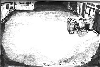Photo: 入夜後的服務台2011.07.18鋼筆 入夜後不會有民眾來洽公是必然的,但服務台還是得派替代役學弟值班到九點,坦白說,我不懂,這到底是要服務誰呀!