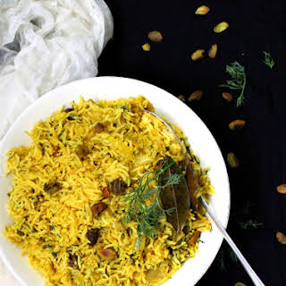 20-minute Dill Turmeric Pilaf with Pistachios.