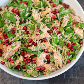 Lunches 7 {Orzo Power Salad with Salmon, Walnuts, and Greens}.