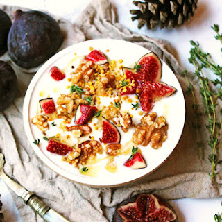 Fig and Walnut Yogurt with honey and thyme.