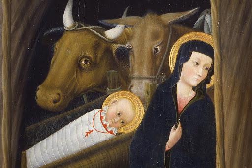 Pietro di Giovanni d'Ambrogio, Adoration of the Shepherds between Saints Augustin and Galgano (detail)
