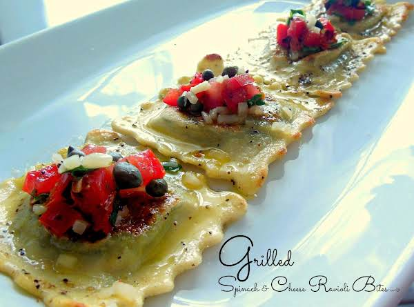 Grilled Spinach & Cheese Ravioli Bites