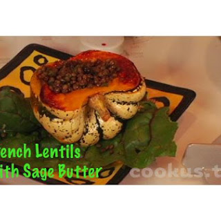 French Lentils With Sage Butter In Roasted Squash