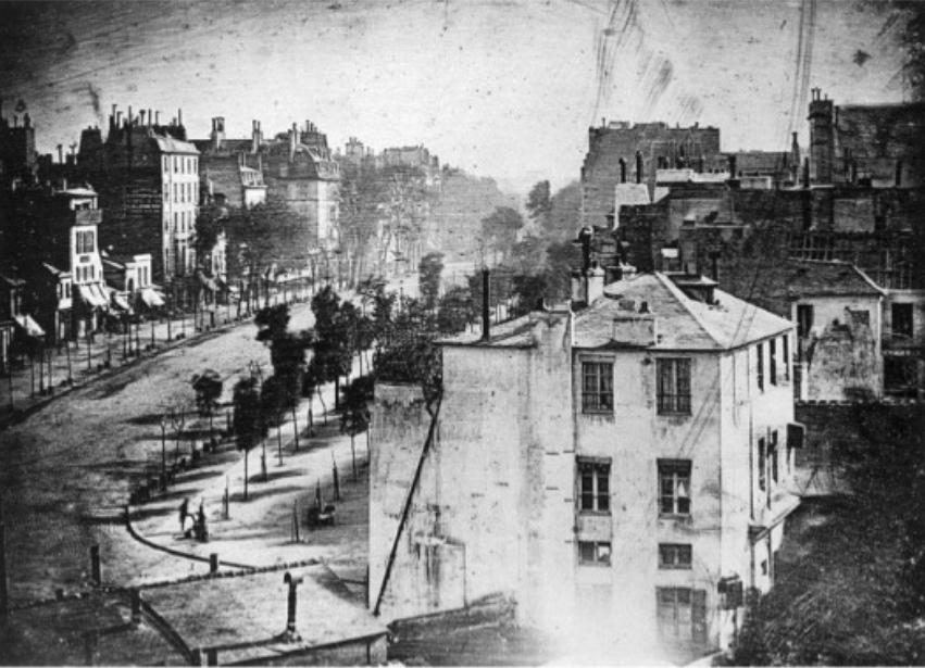 Una de las primeras fotografías de la historia, captada por un daguerrotipo.