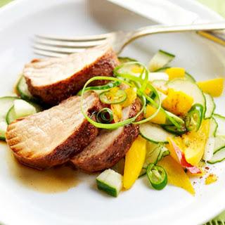 Pork Tenderloin with Cucumber-Mango Salad.