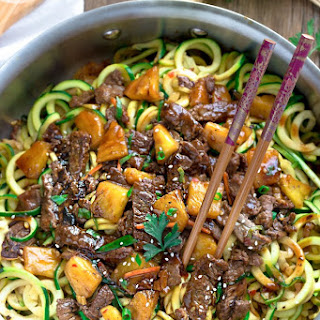 One Pan Mongolian Beef Zoodles {Zucchini Noodles}