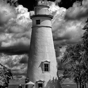 Marblehead by Scott Bryan - Black & White Buildings & Architecture ( sky, monochrome, ohio, black and white, erie, lighthouse, lake,  )