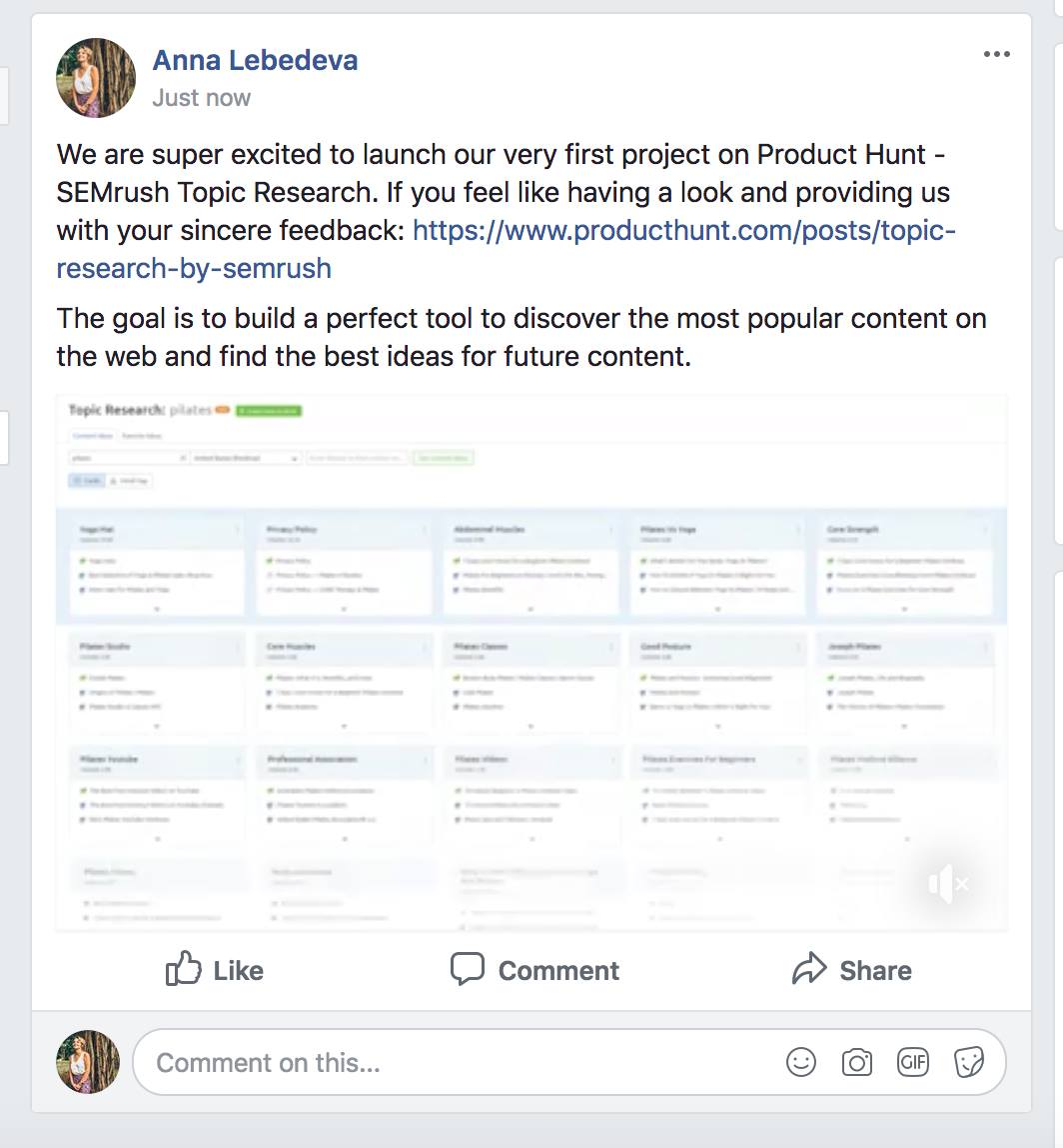 product hunt announcement on facebook