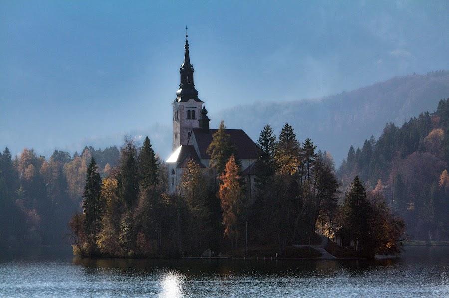church on a small island by Almas Bavcic - Landscapes Travel ( church, lake, travel, landscape, island )