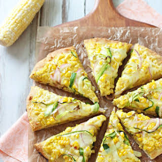Fresh Corn & Zucchini Pizza with Gouda.