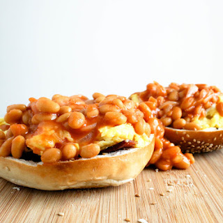 Bacon Eggs and Beans in a Bagel Basket.