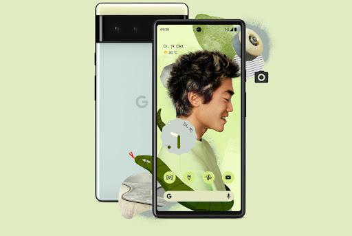 Vorder- und Rückansicht: Pixel6 in Sorta Seafoam.