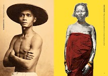 2 foto's: Aziatische man met brede, platte rieten hoed en getatoeëerde vrouw met rode kleding