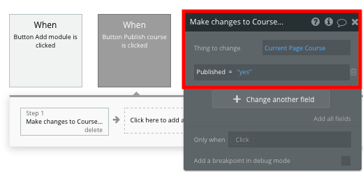 Publishing a course in Bubble's Udemy clone app