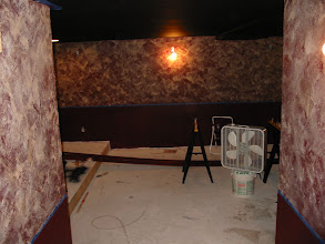 Photo: The faux finish walls at their start..