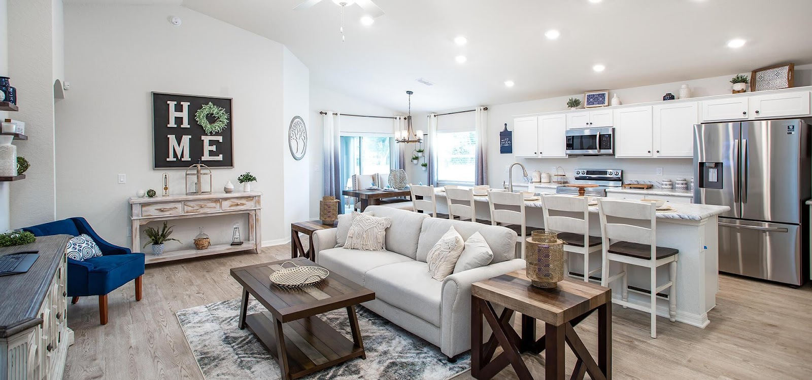Gathering room in the new model home in Eagle Lake, FL