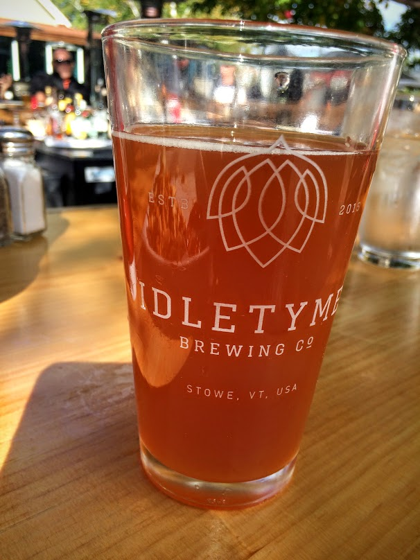 We made it into Stowe, and had a great lunch at the Idletyme Brewing Company. they have a fantastic outdoor area with Corn Hole, and other games and places to just sit and soak up the scenery.