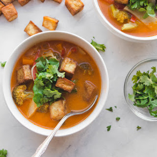 Thai Red Curry Vegetable Soup with Crispy Tofu.