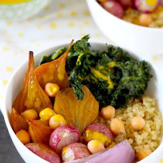 Quinoa Bowls with Turmeric Tahini Sauce.