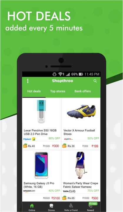 Shopthroo - Earn cash back on hot deals & coupons- screenshot