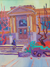 "Photo: ""Carnegie Library, Livermore"", acrylic on canvas 16"" x 12"", © Nancy Roberts"