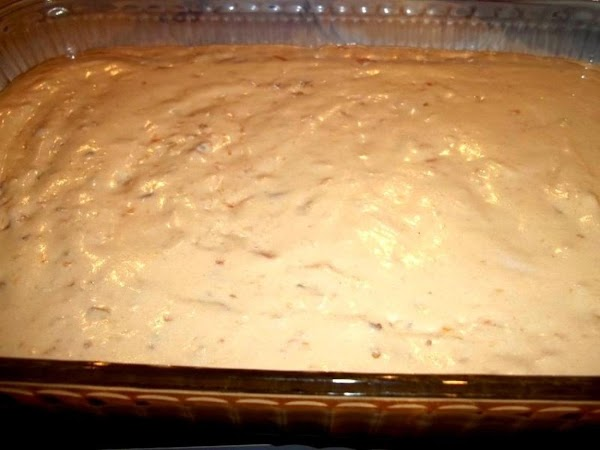 Spread into a 9 x 13 baking dish and refrigerate until set.