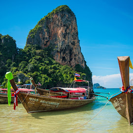 Railay Beach by Karina Irene - Transportation Boats ( thailand, beach, railay beach, boats, travel )