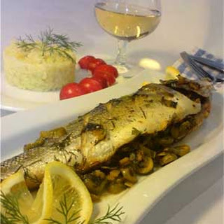 Branzino Stuffed with Olives and Greens