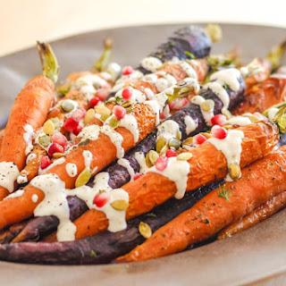 Roasted Carrots with Tahini Garlic Sauce.