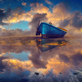 Cloud, colors and a Boat ... by Anupam Hatui - Landscapes Cloud Formations ( water, clouds, reflection, colors, sunset, places, boat, golden hour, , relax, tranquil, relaxing, tranquility )