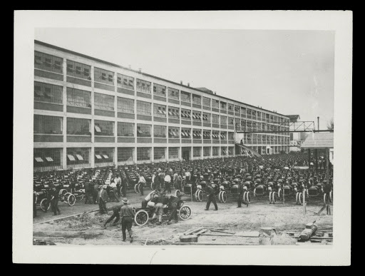 Ford Model T Chassis Being Lined up outside the Highland Park Plant, circa 1913