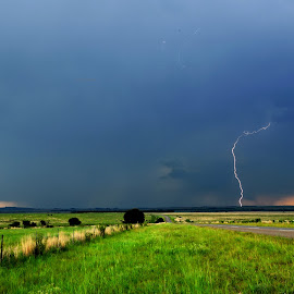 Stormy Road by Cobus van Zyl - Novices Only Landscapes ( lightning, rain, roads, thunderstorm, summer )