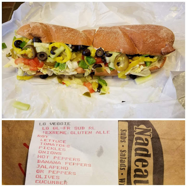 Large gluten free cold veggie sub on Udi's gluten free roll about $9.00, big delicious sandwich.