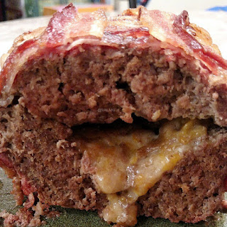 Gluten-free Bacon Wrapped 4-Cheese Stuffed Meatloaf #Recipe.