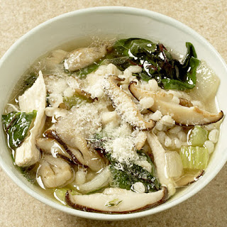 Chicken Soup with Barley, Mushrooms, and Greens