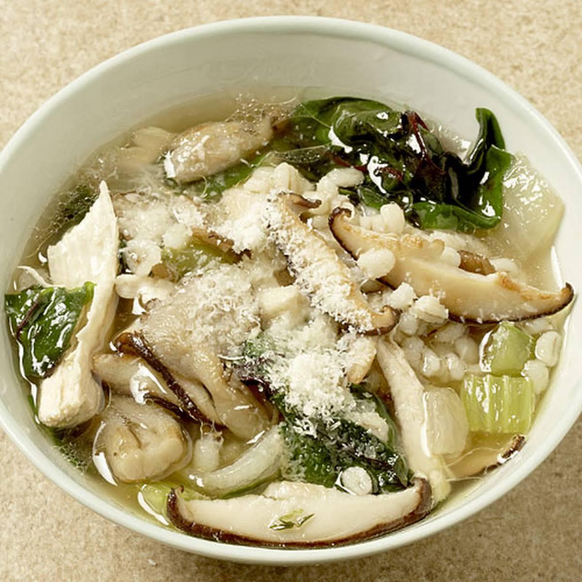 Chicken Soup  following Barley, Mushrooms, and Greens